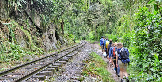 Walk the train tracks on your way to Aguas Calientes