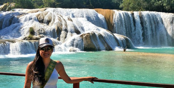 Admire the incredible blue waters of Agua Azul