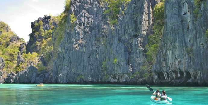 Enjoy scenic places while kayaking through turquoise waters