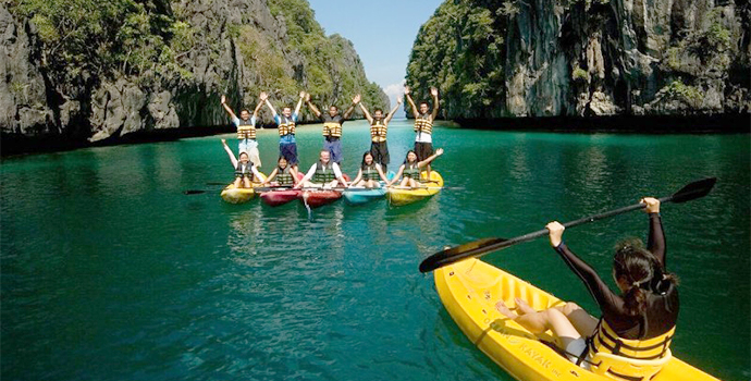 Enjoy scenic places while kayaking through crystal clear waters