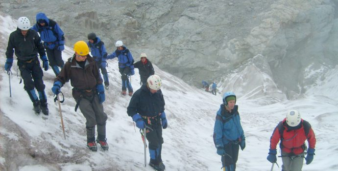 Learn to ice-climb on the old Huayna Potosi glacier