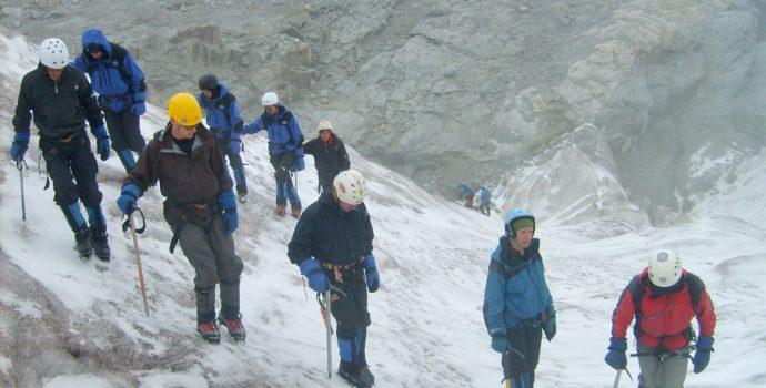 Learn to ice-climb on the old Huayna Potosi glacier