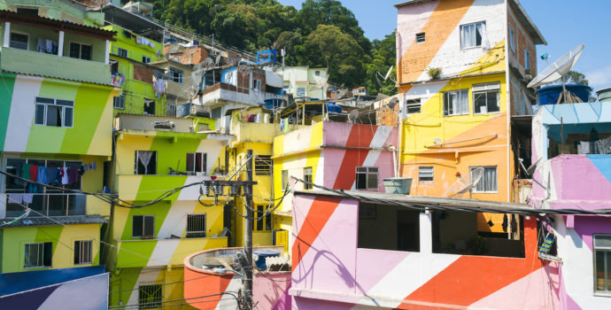 Favela is a unique community built into the side of the mountain